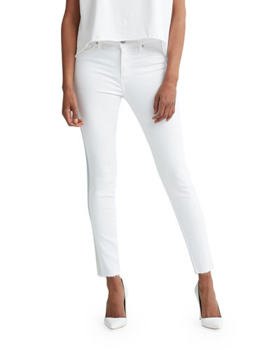 Barbara High-Rise Ankle Raw-Hem Jeans with Ombre Stripe