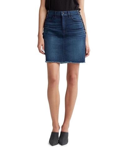 Lulu High-Rise Lace-Up Grommet Denim Skirt