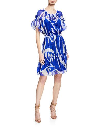 Laren Short-Sleeve Ruffle Dress