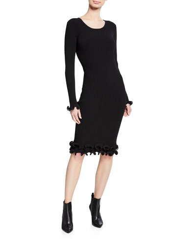 Wired Edge Scoop-Neck Long-Sleeve Fitted Dress