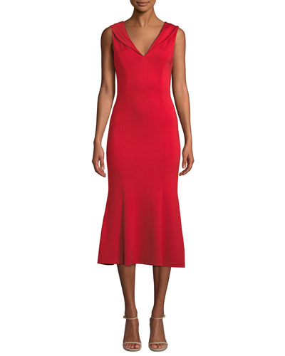 0f752434e3 Cecilia Draped-Shoulder Sleeveless Cocktail Dress