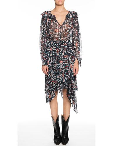 Enna Printed Chiffon Asymmetrical Midi Dress