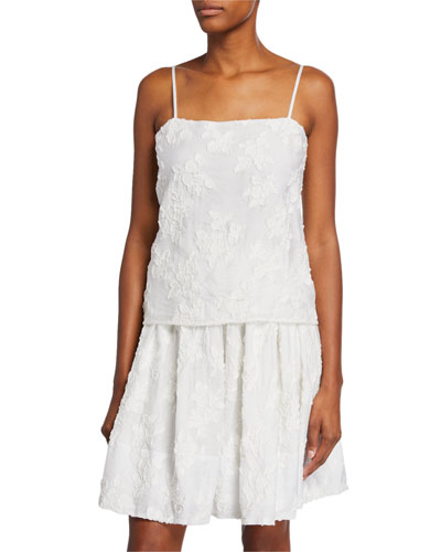 Square-Neck Textured Floral Camisole