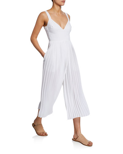 V-Neck Sleeveless Pleated Crop Jumpsuit