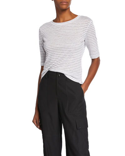 Micro-Stripe Elbow-Sleeve Crewneck T-Shirt