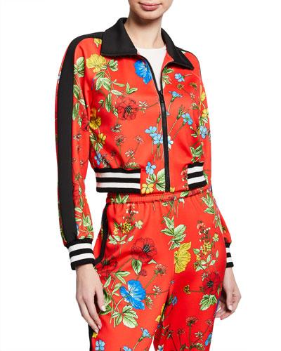 Jackson Floral-Print Raglan-Sleeve Cropped Track Jacket