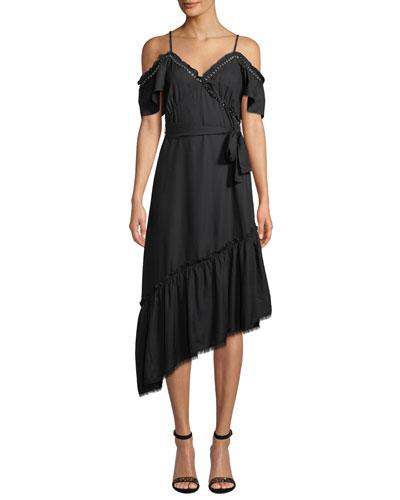Aylin Asymmetric Cold-Shoulder Grommet Dress