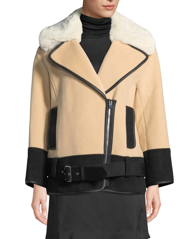 Club Monaco Rismah Zip-Front Wool Coat with Faux-Fur Collar, LIGHT BROWN