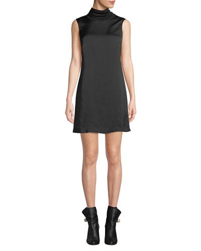 Jourdan Sleeveless Satin Turtleneck Short Dress 1005fc304a2a
