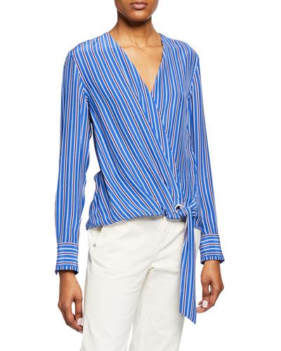 6f0ff9427 Felix Striped Silk Tie-Front Popover Top