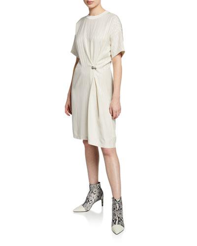 MItchell Pinstripe Grommet Tee Dress