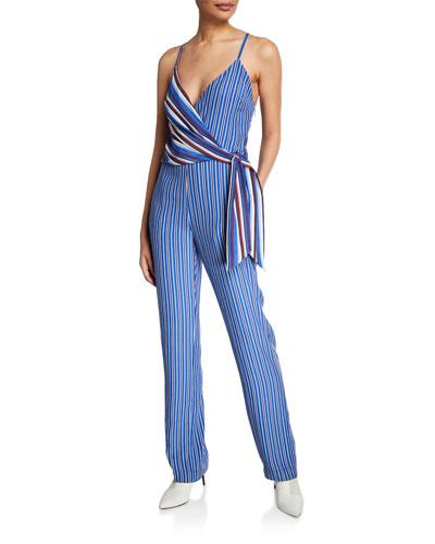 Felix Mixed-Stripe Sleeveless Wrap Jumpsuit