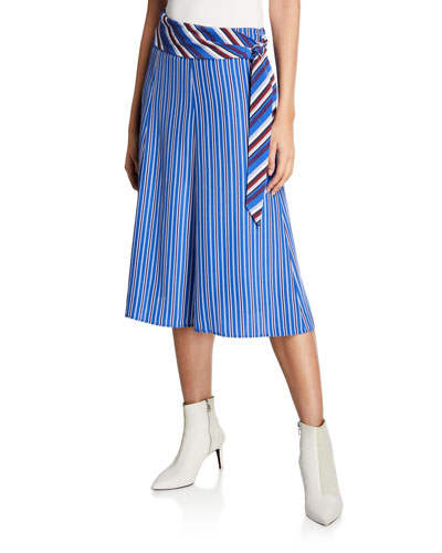 Felix Striped Belted Midi Skirt