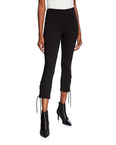 Simone Lace-Up Skinny Stretch Pants