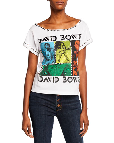 Mikey David Bowie Embellished Wide-Neck Tee with Studs