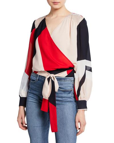 Klara Colorblock Long-Sleeve Wrap Top