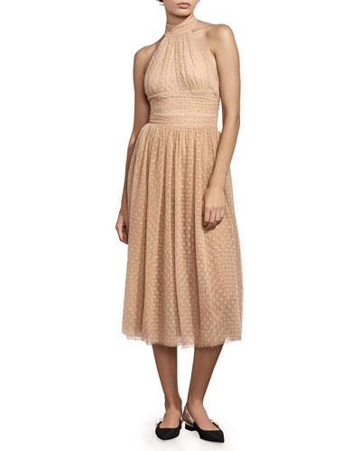 Eponine Embroidered Tulle Midi Skirt