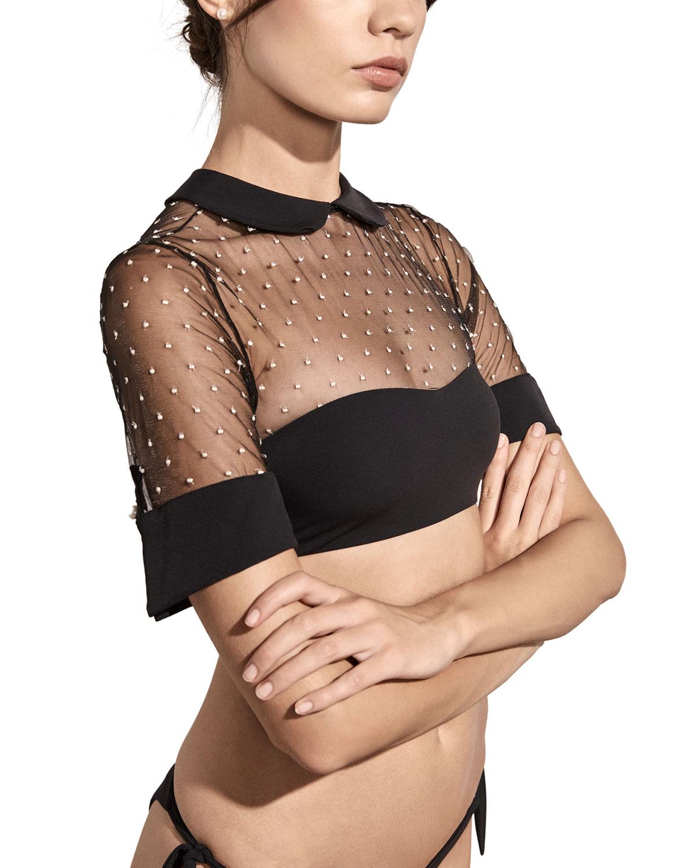 AMAIO SWIM Bella Collared Mesh Bikini Top in Black