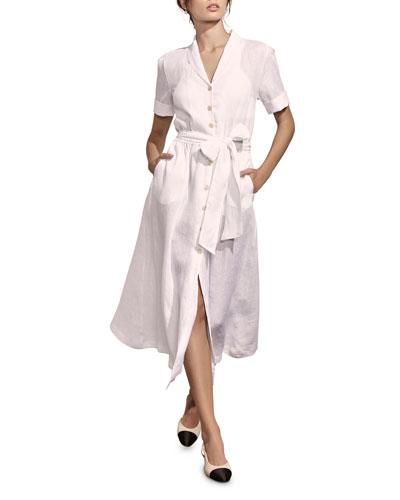 Kamille Button-Down Short-Sleeve Linen Shirtdress