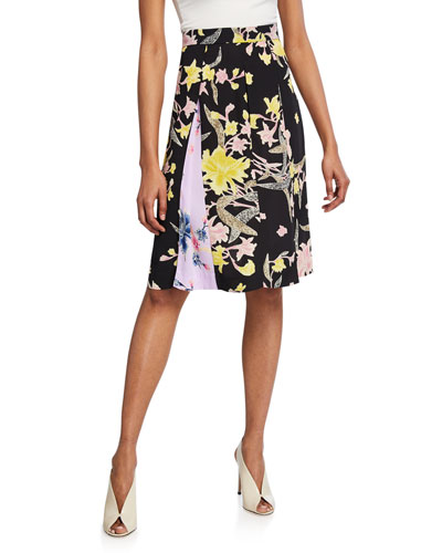 Opal Pleated Floral-Print Skirt