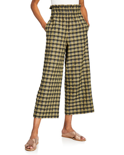 Smocked Seersucker Wide-Leg Check Pants