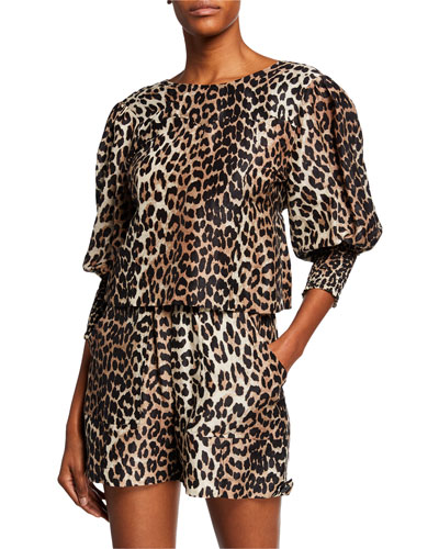 Leopard-Print V-Neck Puff-Sleeve Drawstring Blouse