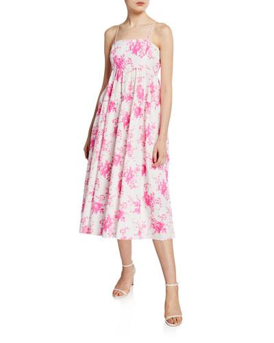 Floral-Print Tiered Sleeveless Poplin Midi Dress