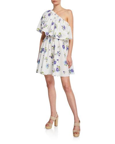 One-Shoulder Floral Poplin Ruffle Mini Dress