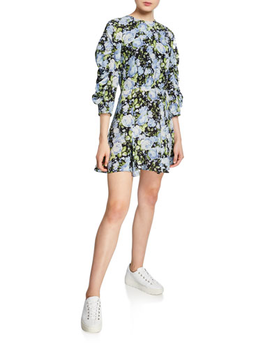 Ruched-Sleeve Floral Silk Godet Short Dress