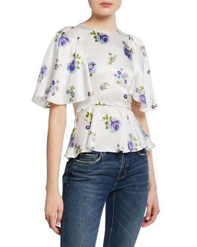 Petal-Sleeve Floral Open-Back Silk Peplum Top