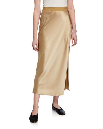 e6942d6408259 Flat-Sateen A-Line Maxi Slip Skirt