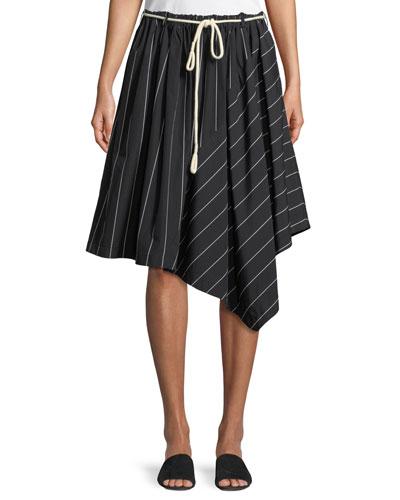 24f5be7e771 Striped Asymmetric Rope-Tie Skirt