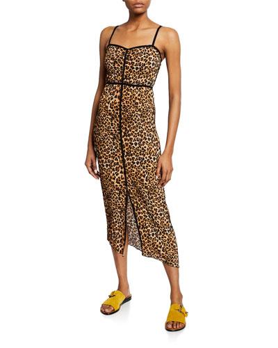 Abir Plisse Leopard-Print Sleeveless Midi Dress