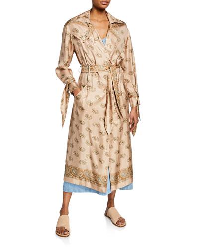 Noir Paisley-Print Silk Trench Dress