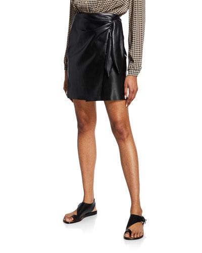 Iowa Vegan Leather Short Wrap Skirt
