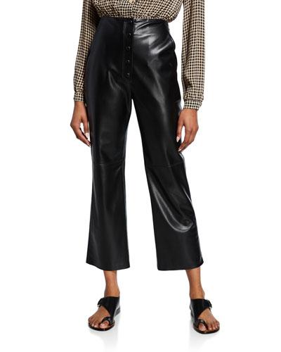 Sora High-Rise Vegan Leather Cropped Pants