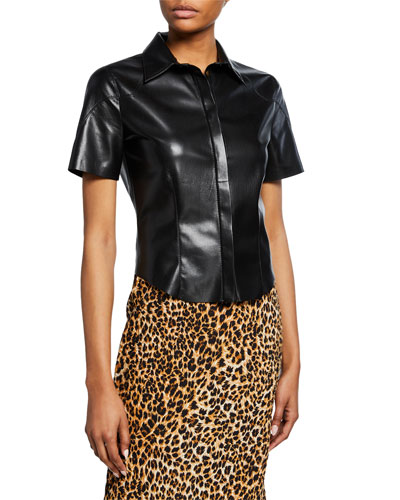 Clare Vegan Leather Short-Sleeve Collared Blouse
