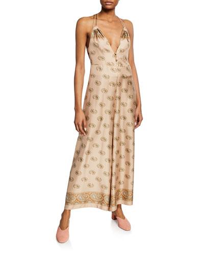 Sunshine Silk Paisley-Print Jumpsuit