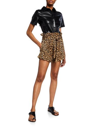 Primrose Pleated Paperbag Leopard-Print Shorts