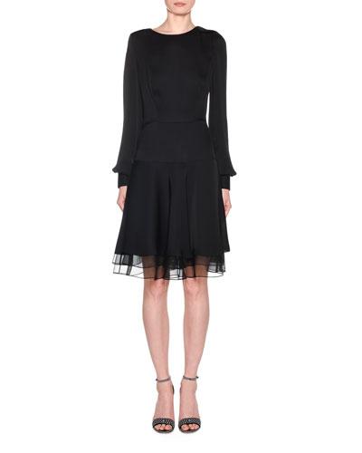 Silk Charmeuse Long-Sleeve Dress