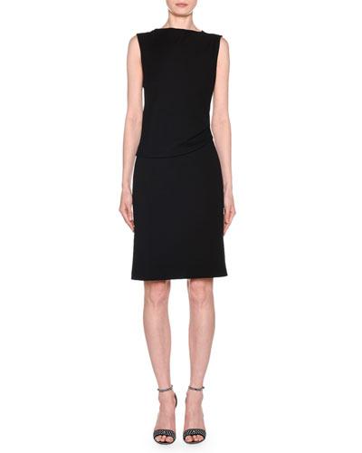 Sleeveless Draped Milano Jersey Dress