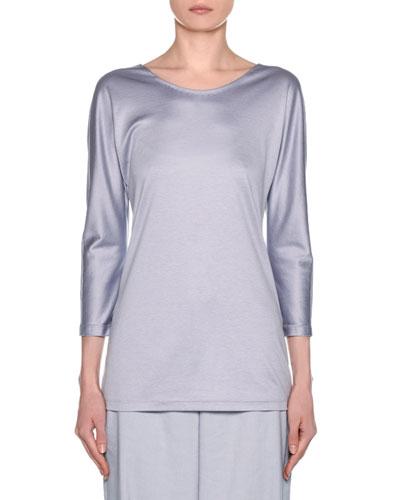 Silk-Cotton Knit Long-Sleeve Tunic