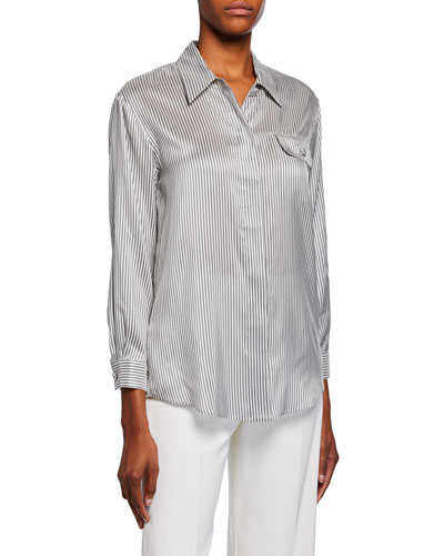 Striped Silk Button-Front Shirt