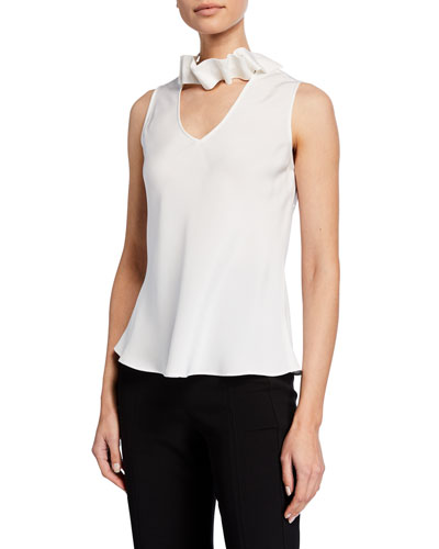 Sleeveless Silk V-Neck Blouse w/ Removable Neck Ruffle