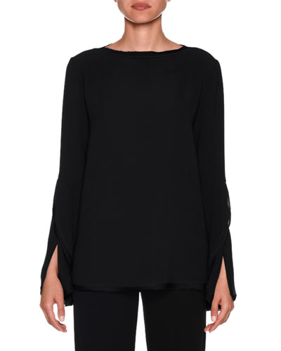 Bell-Sleeve Crewneck Silk Blouse