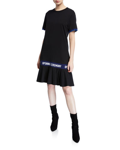 Scallop OC Elastic Cotton T Dress