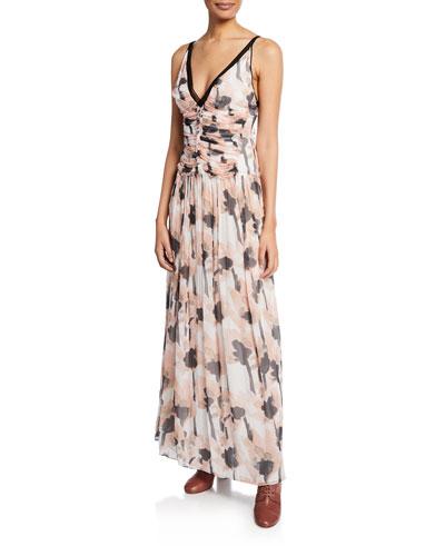 V-Neck Sleeveless Watercolor Poppy-Print Maxi Dress