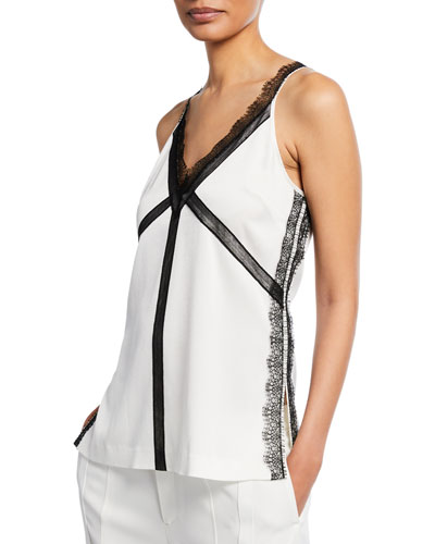 V-Neck Satin Back Crepe Tank Top with Lace Trim