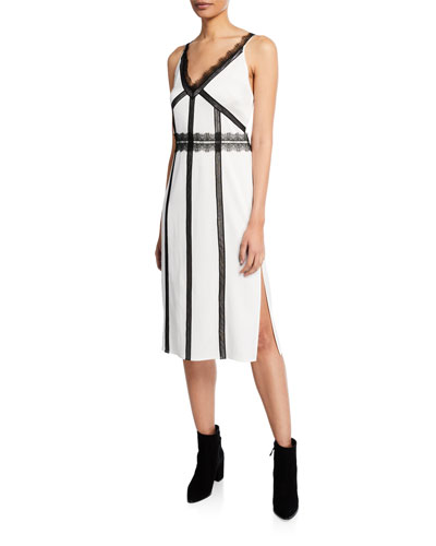 V-Neck Sleeveless Satin Back Crepe Dress w/ Lace Trim