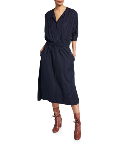 V-Neck Cinched-Waist Stretch-Cotton Poplin Dress